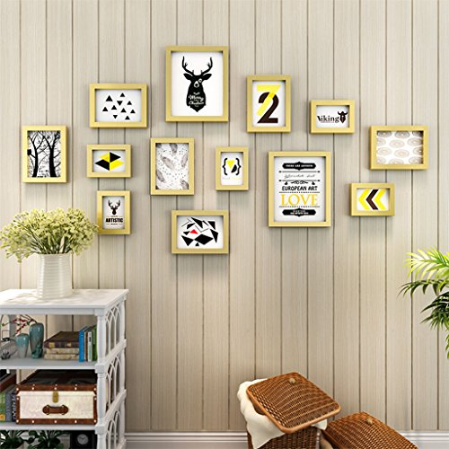 Home@Wall photo frame Photo Frame Sets,Living Room Photo Frame Wall Creative Combination Sofa Background Frames Set Of 13 ( Color : D , Size : 13frames/15177CM ) by ZGP
