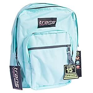 """Trans by JanSport SuperMax Backpack with 15"""" Laptop Sleeve (Aqua Dash)"""
