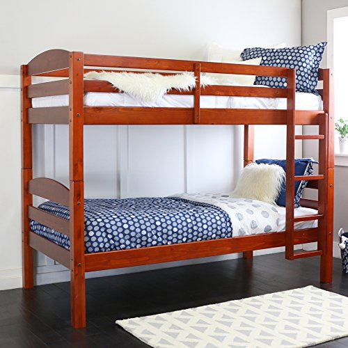 Walker Edison Solid Wood Twin Bunk Bed, Cherry (Cherry Beds Kids Wood)