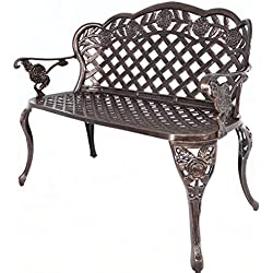 HOMEFUN Outdoor Bench Aluminum, Garden Benches for Outdoors Metal Loveseat Patio Furniture, Rose Carving and Weather Resistant (Antique Bronze)
