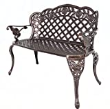 Cheap HOMEFUN Outdoor Bench Aluminum, Garden Benches for Outdoors Metal Loveseat Patio Furniture, Rose Carving and Weather Resistant (Antique Bronze)
