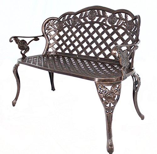 HOMEFUN Outdoor Bench Aluminum, Garden Benches Outdoors Metal Loveseat Patio Furniture, Rose Carving Weather Resistant (Antique Bronze)