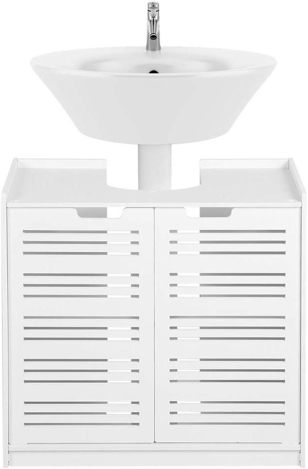 Ejoyous Mueble de baño Mueble de Lavabo, Mueble bajo Lavabo Blanco Gran Espacio de Almacenamiento, Mueble bajo Mueble bajo Lavabo sin Lavabo con 2 Puertas 60 x 30 x 60 cm