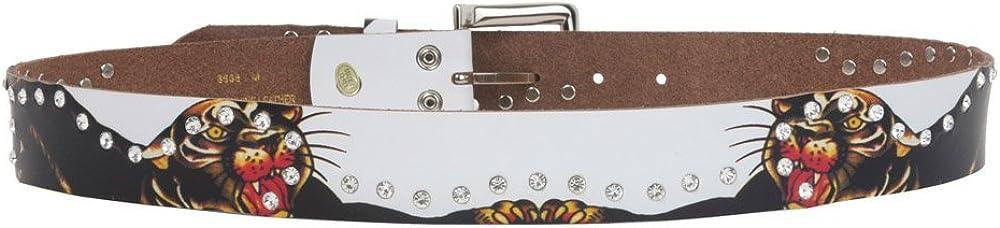 1 1//2 Inch Snap On Rhinestone Tiger Printed Genuine Leather Belt