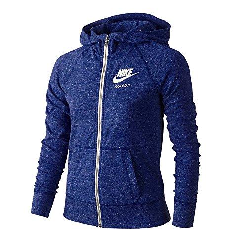 Nike Girl's Gym Vintage Zip Up Hoodie Deep Royal Blue Sail 728402-455 (medium)