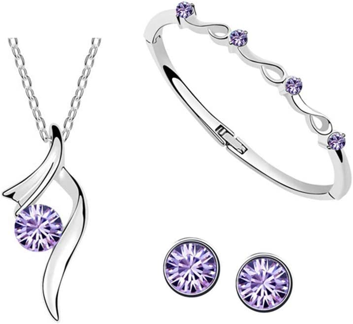 Juego de pendientes y pendientes para novia, chapados en plata, con incrustaciones de diamantes de imitación morado