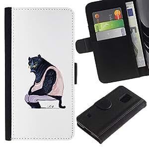 A-type (Puma Arte Negro Grande Wild Cat Glasses Caricatura) Colorida Impresión Funda Cuero Monedero Caja Bolsa Cubierta Caja Piel Card Slots Para Samsung Galaxy S5 V SM-G900