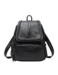 TUBACKPACK Women's Genuine Leather Backpack Versatile Shoulder Bag Handbags Satchel Pockets