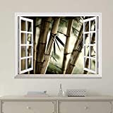"good looking bamboo wall mural  24""x32"" Wall Art Painting Modern White Window Looking Out Into Large Sepia Bamboos Mural Stretched and Framed for Home Office Decor"