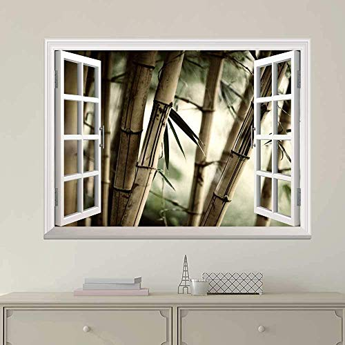 "24""x32"" Wall Art Painting Modern White Window Looking Out Into Large Sepia Bamboos Mural Stretched and Framed for Home Office Decor"