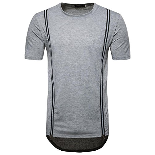 Bluestercool Hommes Casual Slim Zipper Manches Courtes Col Rond T-shirt Top Gris