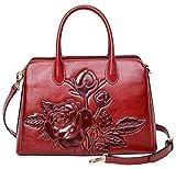 PIJUSHI Top Handle Satchel Handbag For Women Floral Purses Genuine Leather Shoulder Bag (22618, New Red)