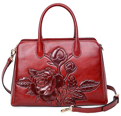Women's new fashion Satchel Handbag Genuine Leather shoulder bag(red) - 6