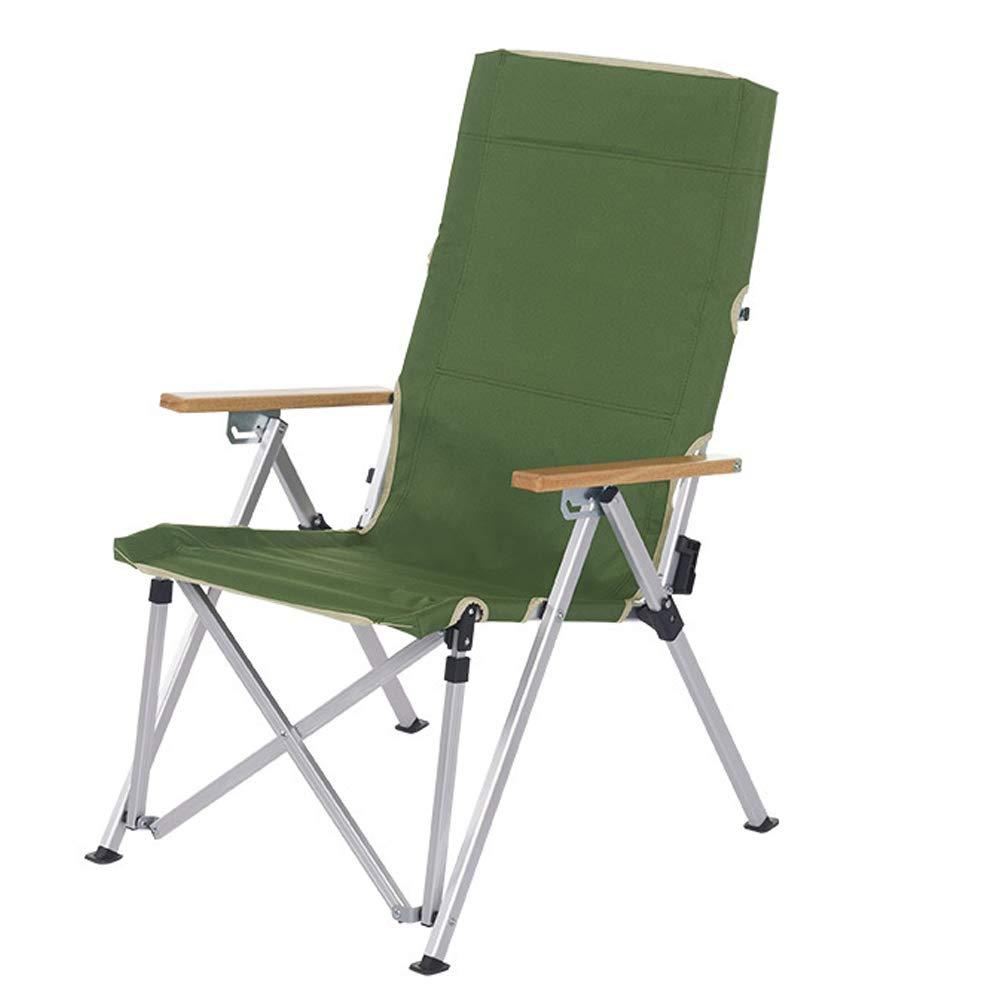 Outdoor Aluminum Folding Chair Three-Speed Adjustable Leisure armrest Folding Chair Fishing Chair-Green