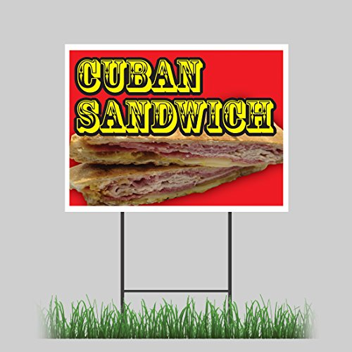 "18""x24"" Cuban Sandwich Yard Sign Hot Fresh Bread Meat Concession Stand Sign hot sale"