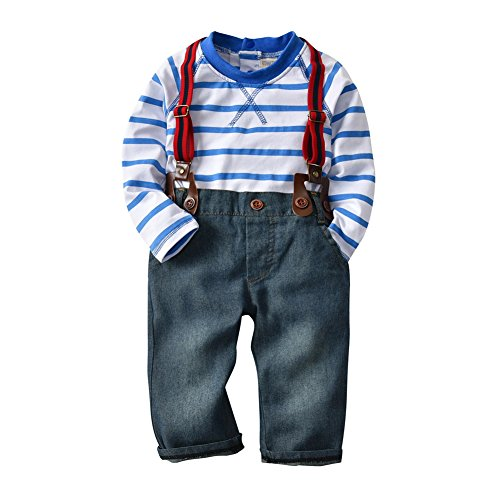 Isugar Toddler Baby Boy Long Sleeve T-shirt Denim Jeans Overalls Outfit Sets (9-12 (Boys Denim Overall Set)