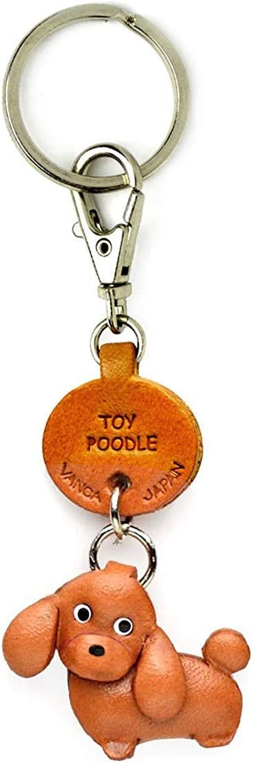 POODLE WHITE Dog Puppy Quality Leather and Chrome Keyring