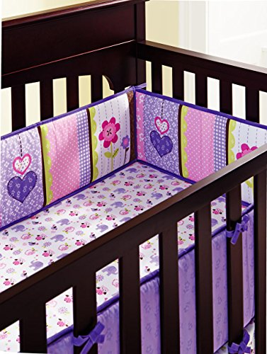 Amomo Crib Bumpers Breathable Baby Bumper Pads 4 Piece for Baby Girl Boy (Purple-Flower)