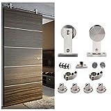 HomeDeco Hardware 5 FT- 8 FT Stainless Steel Sliding Door Hardware Rolling Single Door Rails ...
