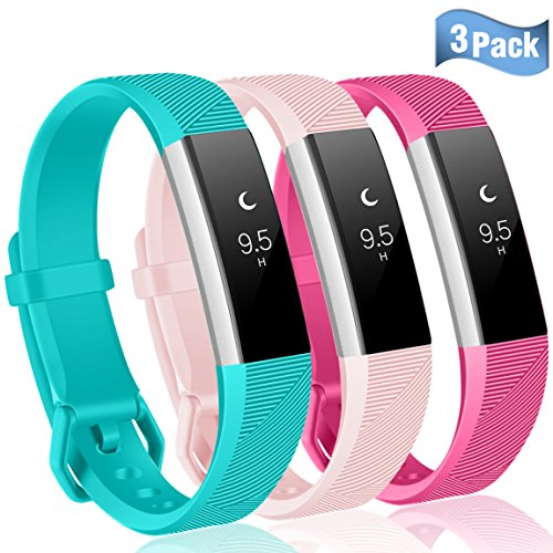 Maledan Replacement Bands for Fitbit Alta HR/Alta and Fitbit Ace, Teal/Rose Pink/Blush Pink, Small