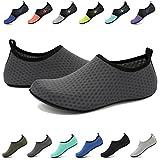 EASTSURE Snorkeling Shoes Water Sport Shoes Aqua Mesh Socks for Men Women Beach Swim Surf Yoga Dark Grey 42-43