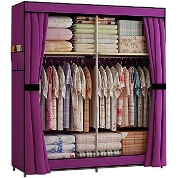 generic new double portable wardrobe bedroom clothes hanging storage closet. Black Bedroom Furniture Sets. Home Design Ideas