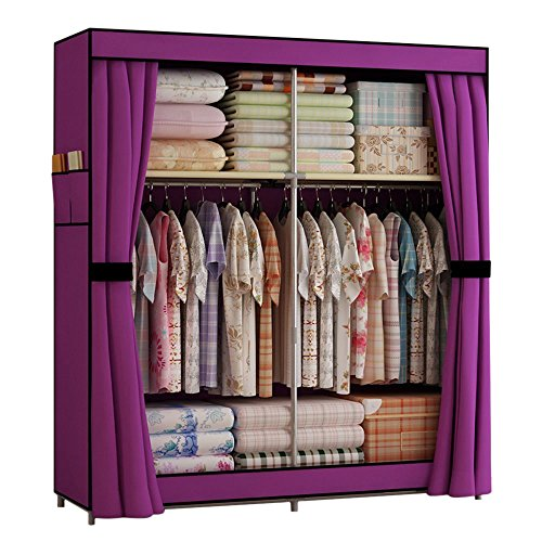 Generic New Double Portable Wardrobe Bedroom Clothes Hanging Storage Closet Organizers by Generic