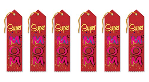 Beistle AR216 Super Mom Award Ribbons, 2 by 8-Inch, 6-Pack