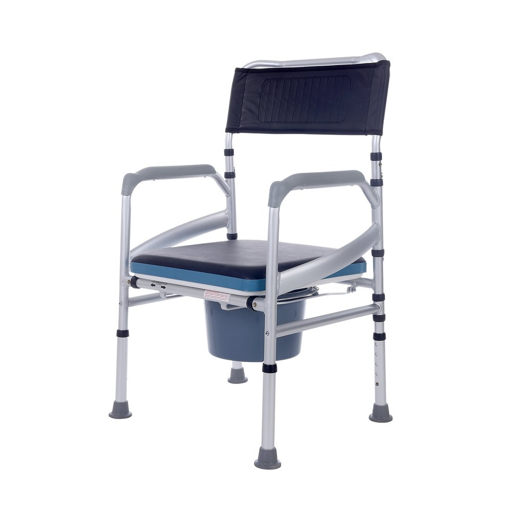 SUKONG Aluminum Portable Bedside Commode Shower chair With Toilet Style Seat and Cover