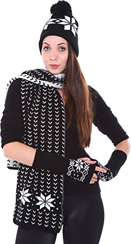 Simplicity Adult Hat Scarf Fingerless Gloves Set Snowflake Knit, Black (Adult Hats)