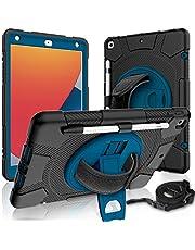 LLGLTOMO iPad 8th Generation Case, iPad 7th Generation Case, iPad 10.2 Case 2020/2019 with 360 Rotating Stand Hand Strap&Stylus Pencil Holder for iPad 8th Gen/iPad 7th Gen 10.2 inch, Black