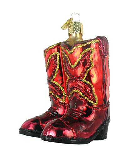 Cowboy Boot Christmas Ornament - Old World Christmas Ornaments: Red Cowboy Boots Glass Blown Ornaments for Christmas Tree (32181)