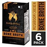 Cheap Mushroom Chicken Bone Broth Soup by Kettle and Fire, Pack of 6, Keto Diet, Paleo Friendly, Whole 30 Approved, Gluten Free, with Collagen, 7g of protein, 16.2 fl oz