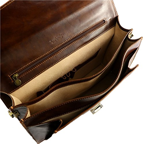 Aktentaschen Leder - 4027 Dunkelbraun - Echtes Leder Taschen - Mega Tuscany