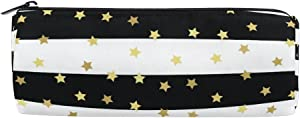 Round Pencil Case Bag Black White Stripes Stars Multi FunctionSchool Supplies Organizer Pouch Bag with Zipper Closure