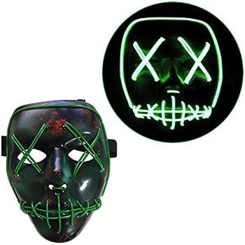 Amazon.com: Frightening Luminous EL Wire Led Mask Halloween Light ...