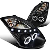 Spec-D Tuning LHP-G35032JM-TM Infiniti G35 Dual Halo Led 2Dr Coupe Black Projector Headlights