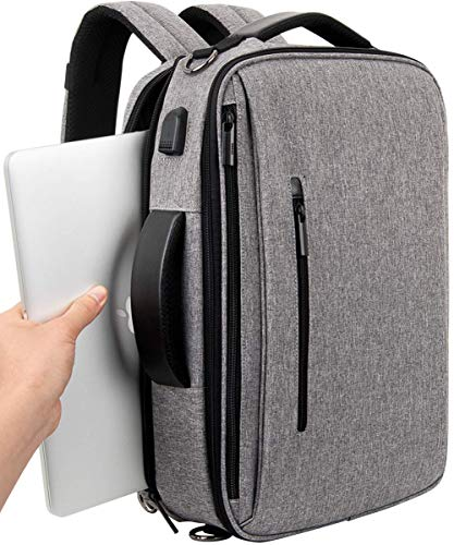 Slotra Laptop Backpack Convertible Briefcase and Messager Bag Shoulder Strap Removable Hiddened in The Compartment Grey 15.6 Inch