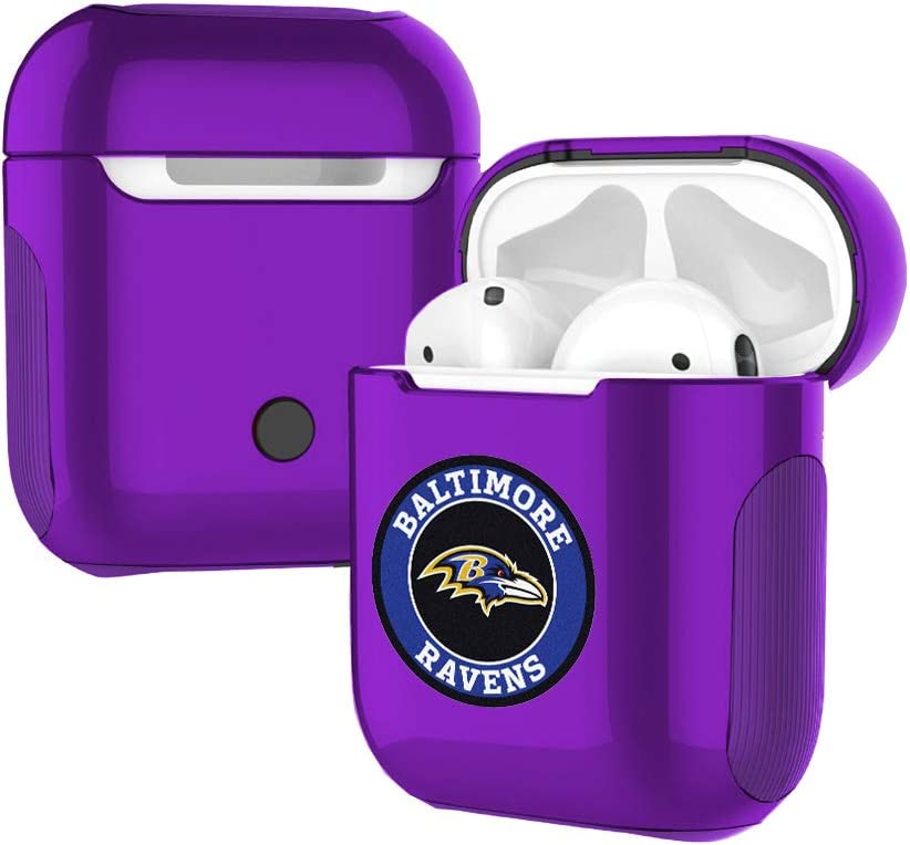 Cute Ravens AirPod 1/& 2 Case Cover with Carabiner Keychain Ravens AirPods Case Cover Hybrid Silicone AirPod 1 2 Case Ravens Design Shockproof Protective Airpods Skin Shell Purple