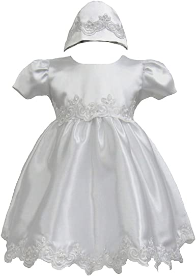 Gigis Classy Kids Baby Girls White Embroidered Organza 2 PC Dress Bonnet Christening Baptism Dedication
