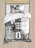 Ambesonne Paris Duvet Cover Set Twin Size, View from The Pont Neuf Historical French Landmark Urban Architecture Drawing, Decorative 2 Piece Bedding Set with 1 Pillow Sham, Black and White