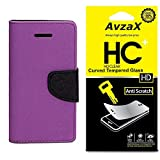 Avzax Flip Cover With Magnetic Closure (Purple) with Tempered Glass For Micromax Canvas Amaze 4G Q491