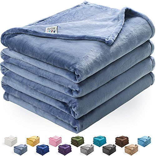 (KAWAHOME Fleece Blanket Lightweight Fuzzy Microfiber Throw Blankets All Season for Bed Couch Sofa Throw Size 50 X 60 Inches Washed Blue )