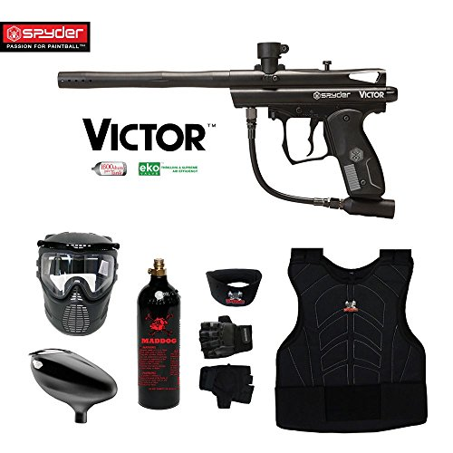 MAddog Kingman Spyder Victor Beginner Protective CO2 Paintball Gun Package - Black