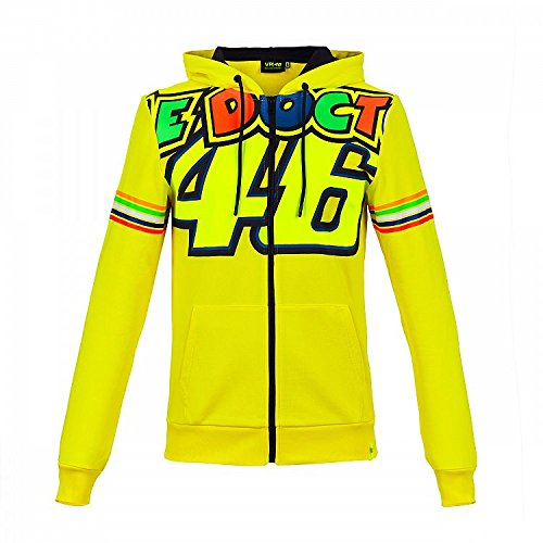 Valentino Rossi VR46 Moto GP The Doctor Stripes Yellow Hoodie Official 2018