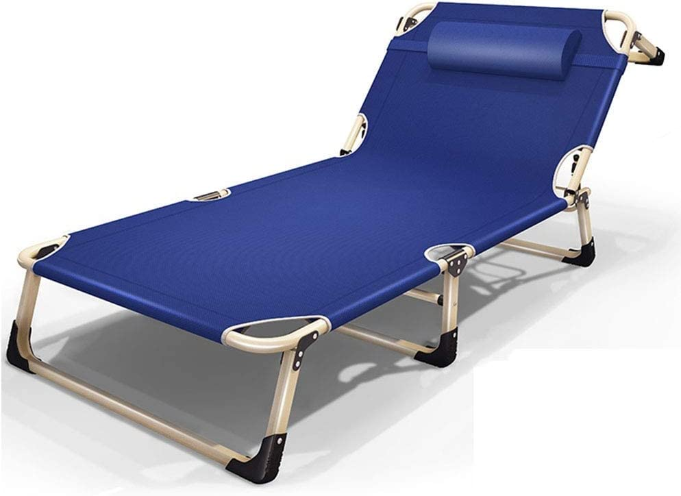 PNYGJZDY Tumbona al Aire Libre Tumbona Plegable Tumbona Ajustable con reposacabezas extraíble Playa Campamento Cuna Asiento ensanchado Patio Piscina Reclinable (Color : Azul)