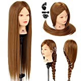 "Neverland Beauty 26"" 30% Real Human Long Hair Hairdressing Cosmetology Mannequin Manikin Training Head Model with Clamp"