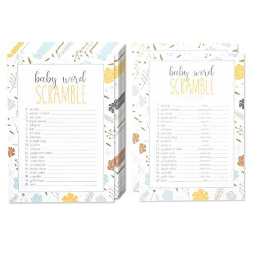 50 Baby Shower Game Sheets and 2 Answer Key Word Scramble Party Games - for Boy or Girl Unisex Gender Neutral - for 50 Guest Activities Supplies - 5 x 7 Inches -