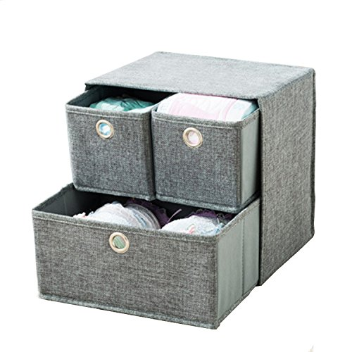 BODON 3-Linen Fabric Foldable Lightweight Portable Storage Bins Organizer Removable Divider Clothing Organization Removable Divider For Home Office Nursery Closet Grey by BODON