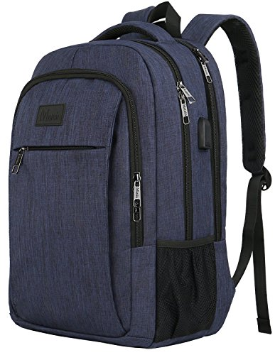 Laptop Backpack with USB Charging Port,Slim Travel Backpack with Laptop Compartment for Men and Women,Water Resistant College School BookBag Computer Bag for Girls and Boys Fits 15.6 In Laptop,Macbook by MATEIN